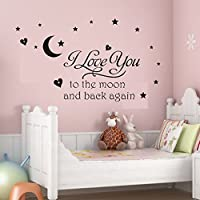 Soledi® Black Vinyl Wall Decal I Love You to the Moon and...