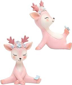 Cabilock 2pcs Christmas Reindeer Figurine Deer Figure Cake Topper Figurine Woodland Animal Figurine Christmas Decor Gift (Pink, Random Pattern)