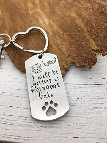 Boxer Loss Bereavement Keepsake Dog Passing Keychain Loss of Animal Friend Sympathy Memorial Anniversary Birthday Hand Stamped Present Rainbow - Key Passing