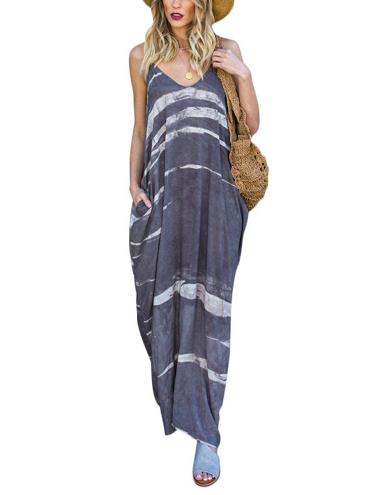 2d5e4422cfa Dreamparis Women s Sexy Tie Dye Spaghetti Strap Loose Long Maxi Dress with  Pockets Medium Grey