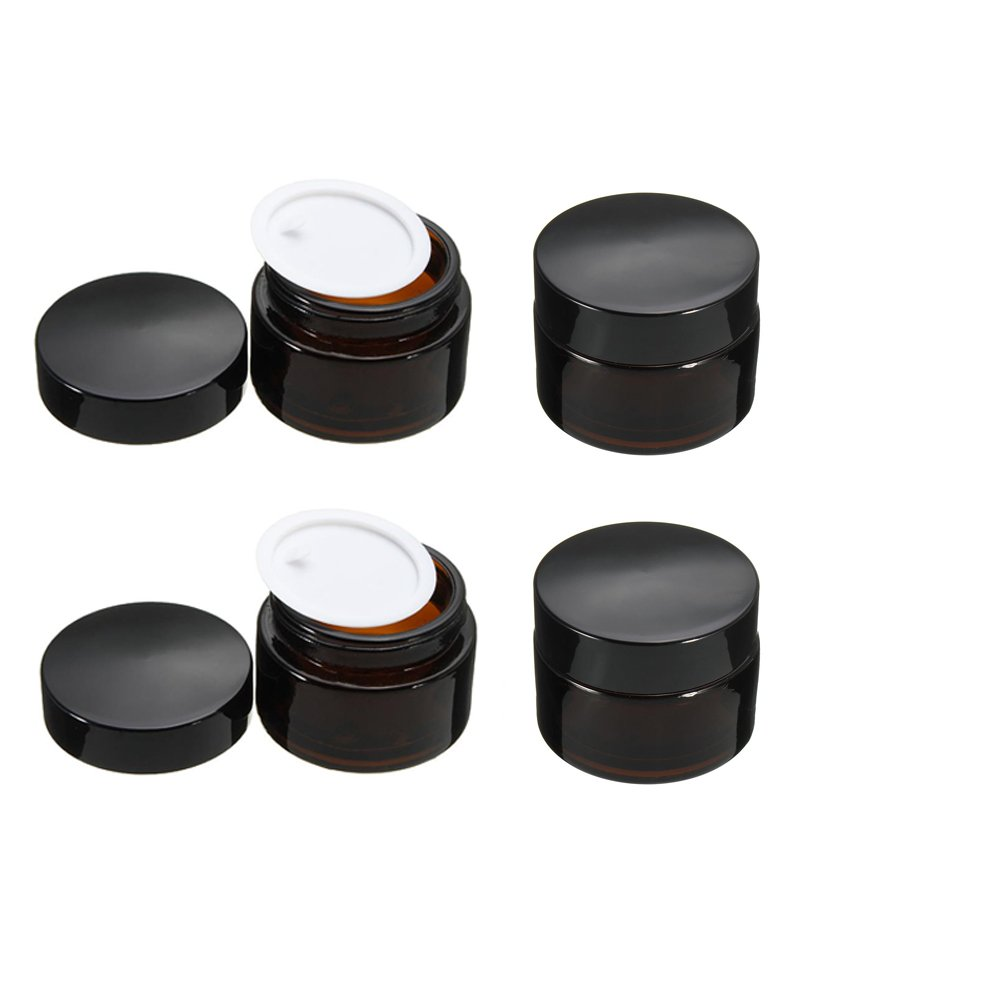 4 Pcs Amber Glass Cosmetic Jar Empty Refillable Makeup Sample Comtainer Cosmetic Cream Container Pots with Inner Liners (20g) Wilotick