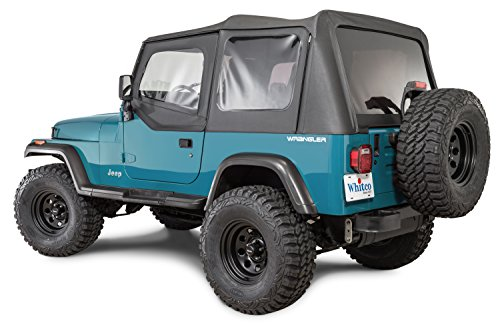 Tinted Rear Windows (Whitco Replacement Soft top with Tinted Rear Windows for 1987-1995 Jeep Wrangler YJ with Upper Doors in Black Diamond 35111135)