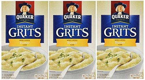 Quaker, Instant Grits, Butter Flavor, 12 Count, 12oz Box (Pack of 3)