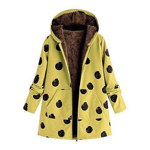Dressin Women's Floral Print Pockets Vintage Oversize Winter Warm Hooded Jacket Cardigan Overcoat Outwear Coat from Dressin