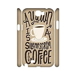 3D Samsung Galaxy Note 2 Case Cute Protective Typography Silent Scream Coffee, Pop Art Samsung Galaxy Note 2 Case Luxury [White]