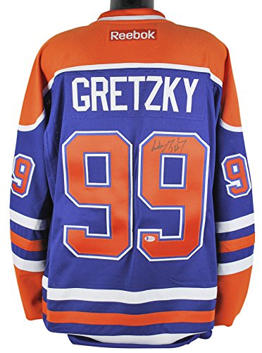 Oilers Wayne Gretzky Authentic Signed Blue Reebok Jersey Autographed BAS #A11073 Signed Autographed Oilers