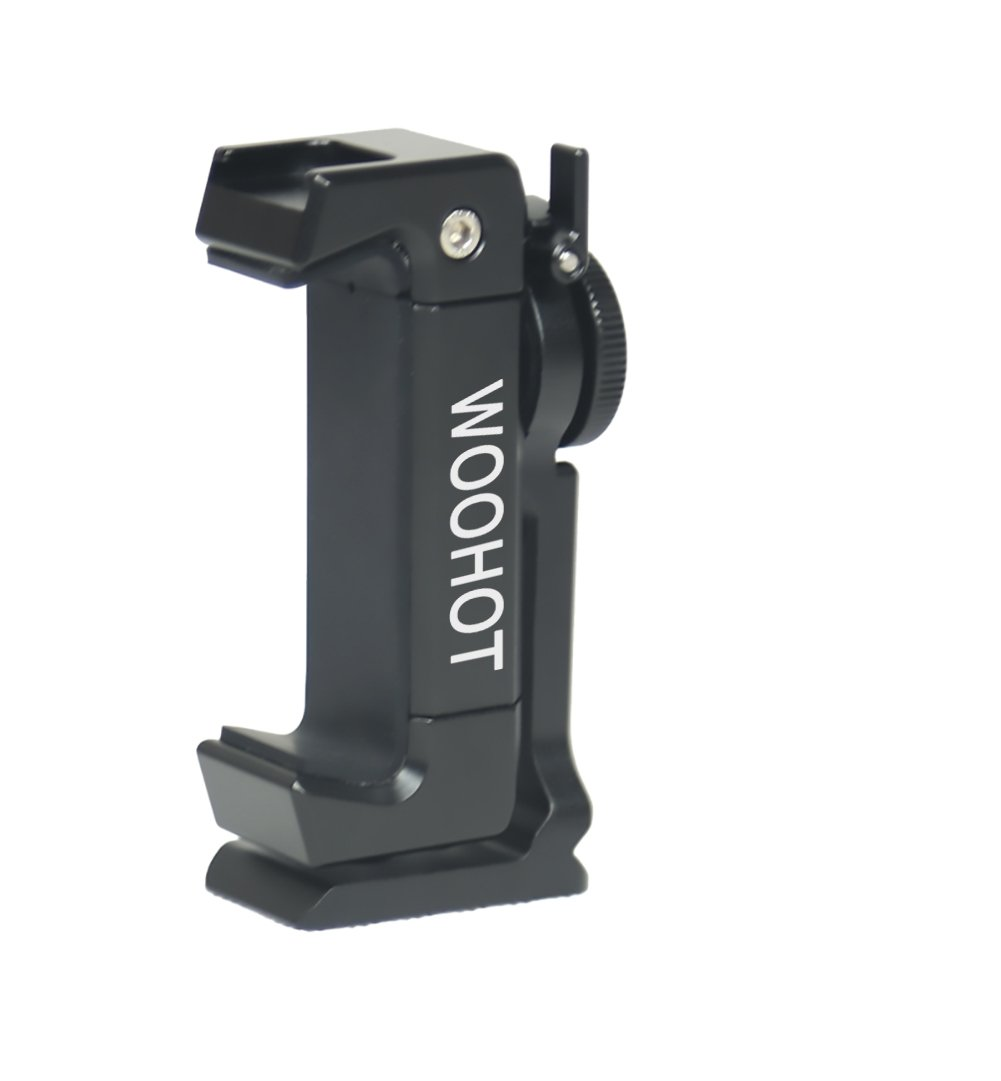 2018 Newest Version Woohot 360 Degree Rotation,Metal Phone Tripod Mount with Cold Shoe,Mount Pro Smartphone Holder Video Rig Tripod Mount Adapter