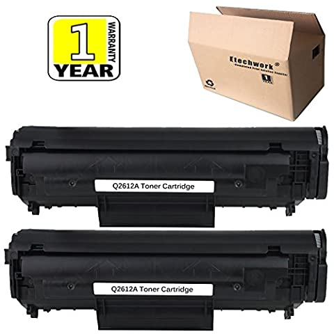 12A Q2612A Toner Cartridge Black Replacement for Laserjet Printer M1005 M1319F 1010 1012 1015 1018 1020 1022 1022n 1022nw 3015 ( 2 Pack ), Etechwork Brand