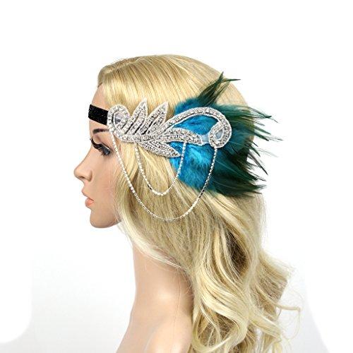 Meiliy Women's Vintage Crystal Headband Flapper Feather Headband 1920s Headpiece Hair Accessories, Blue