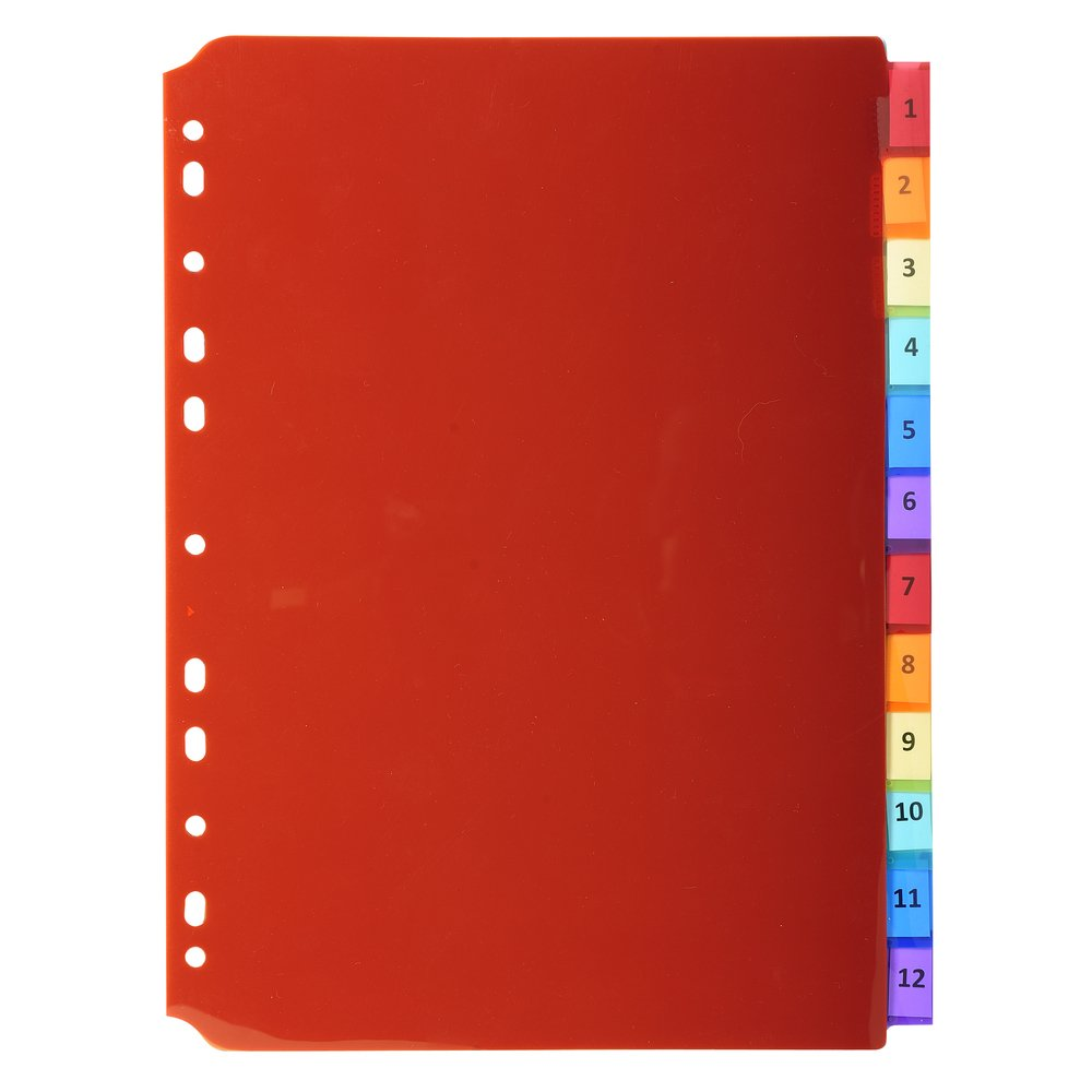Exacompta A4 PP Dividers, 6 Part, Multi-Coloured 3906E