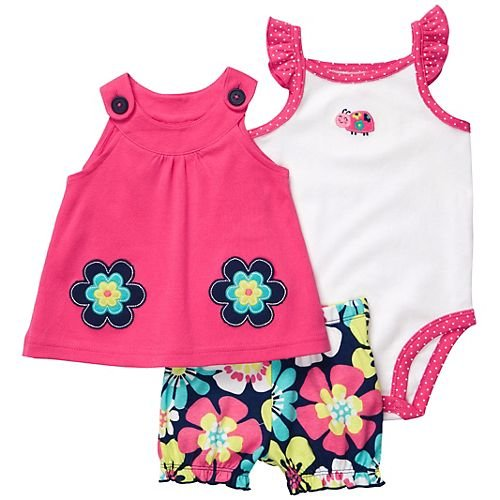 Carter's Baby Girl's Oh-So-Fun 3-Piece Set - Flowers & Ladybug