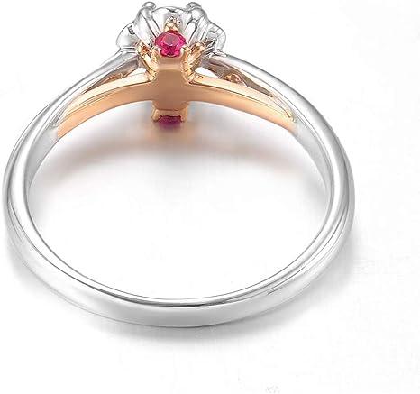 Gems.RDX Anillo de Diamantes 0,18 Quilates, Flor Forma, I-J Color ...