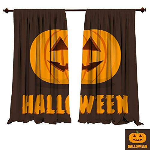 Blackout Room Darkening Curtains Halloween pumpkin with smile face Cute happy pumpkin for banner poster party invitation greeting card Vector illustration Room Art Prints Nature Window Treatment