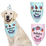 Dog Bandanas,EYLEER Pet Cat Puppy Double-Layer Pure Cotton Happy Birthday Triangle Bibs Scarf Dog Kerchief Accessories for Medium Large Dog Puppy (Blue)
