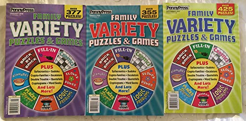 (Lot of (3) Penny Press Family Variety Puzzles & Games Puzzle Book 2017 2018)