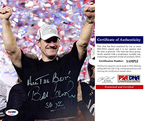 (Bill Cowher Signed - Autographed Pittsburgh Steelers 8x10 inch Photo with Super Bowl inscription with PSA/DNA Certificate of Authenticity (COA))