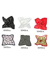 "6 PCS Soft Satin Neck Head Square Scarf Hair Wrap Fashion Enduring Classic 23""*23"""