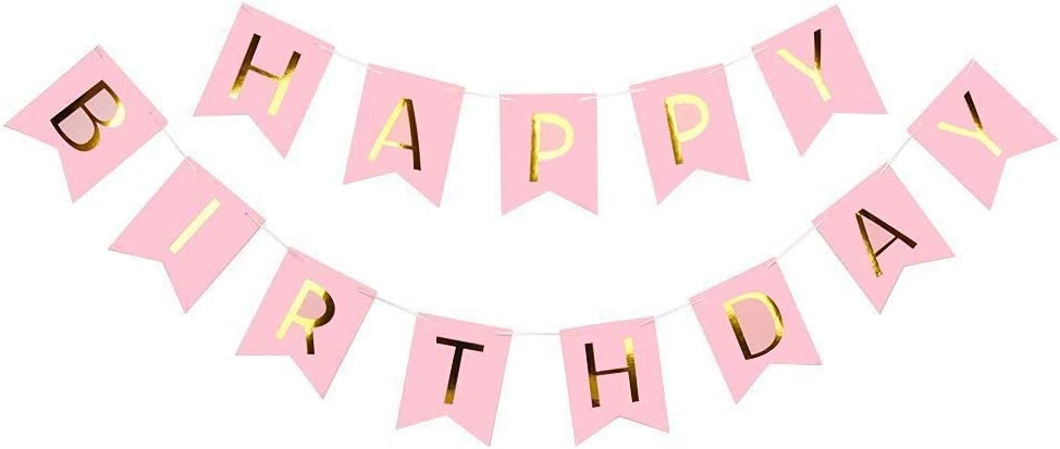 STZhonghui Paper Flag Paper Bunting Banners Happy Birthday Decoration Set Pink