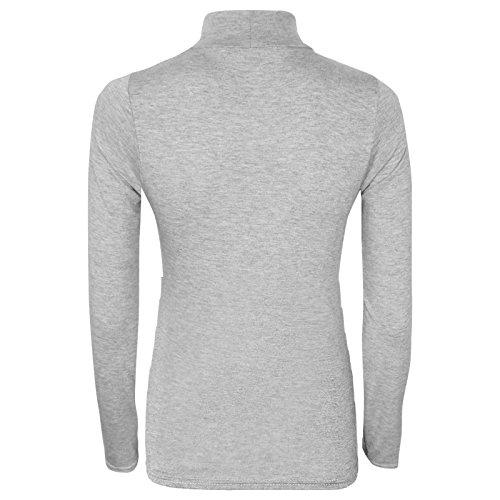 roul T longues col Gris et Crop manches Femme Top Shirt 0pqIwRPx