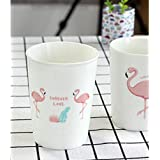 Lovely Flamingo Letter Coffee Mugs Ceramic Cup of Milk for Breakfast Cups (Flamingo Straight Cup)