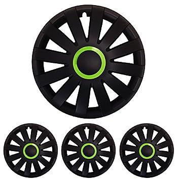Tapacubos – Tapacubos Tapacubos Racing con anillo verde 14 pulgadas 14 R14 universal apto para