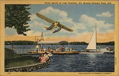 Water Sports on Lake Hamilton Hot Springs National Park, Arkansas Original Vintage Postcard