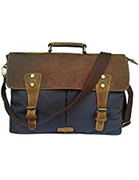"DH 18"" Vintage Rustic Look Grey Canvas Leather Messenger Satchel Briefcase Bag"