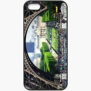 Protective Case Back Cover For iPhone 5 5S Case Paris Europe France Eiffel Tower People Street Black
