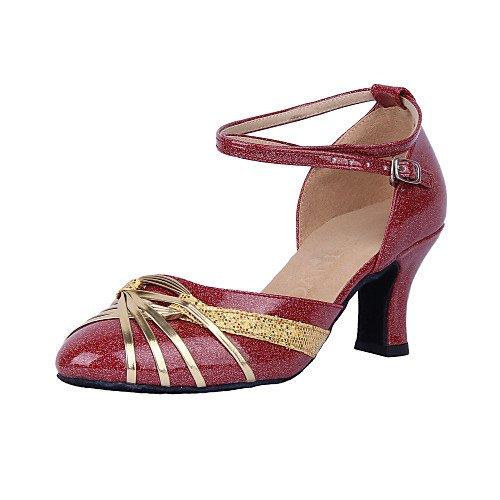 T.T-Q Zapatillas de Baile para Mujer Moderno Salón de Cuero Cuero sintético Tacón Plateado Sandalias Latinas Salsa Jazz Tango Columpio Práctica Rendimiento en Interiores Plata
