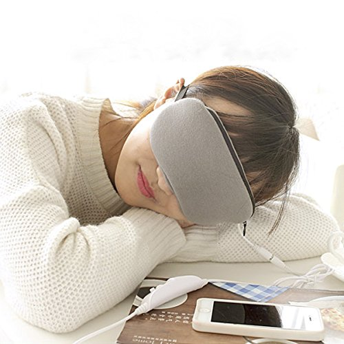 Grinigh Sleep Hot Steam Eye Mask with USB Heated Lavender Scented Eye Pillow with Soft Cover for Eye Relax - Grey Scented Eye Mask