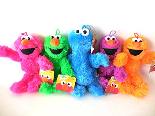 Sesame Street Elmo and Cookie Monster Plush Doll - 4 Elmo ( Pink, Green, Orange and Purple) and 1 Cookies Monster 8 Inches -