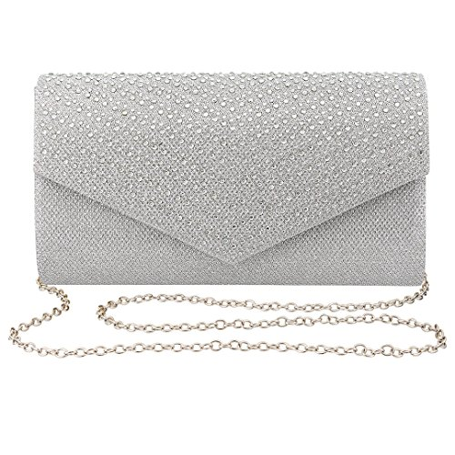 Gabrine Womens Evening Bag Handbag Clutch Purse Glitter Rhinestone-Studded Flap Mesh Fabric for Wedding Party Prom(Silver)