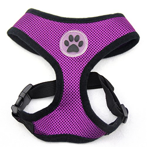 Mesh Dog Harness Pet Walking Vest Puppy Padded Harnesses Adjustable, Purple Small ()