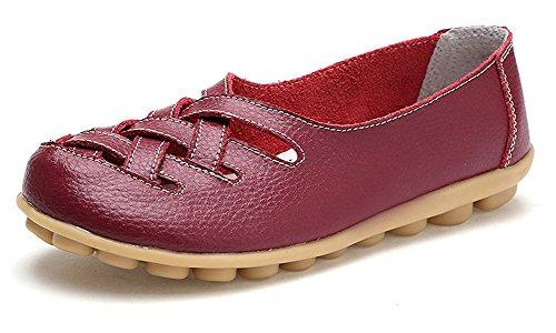 Femme Bateau Cuir Plates Rouge Mocassins Chaussures Loisir Flats De Vin Casual Ville Penny Conduite Loafers dZq0f