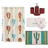 HiEnd Accents Cactus 21-Piece Bathroom, Shower Curtain Hook, Bath Accessory, Rug, Towel Set, Red