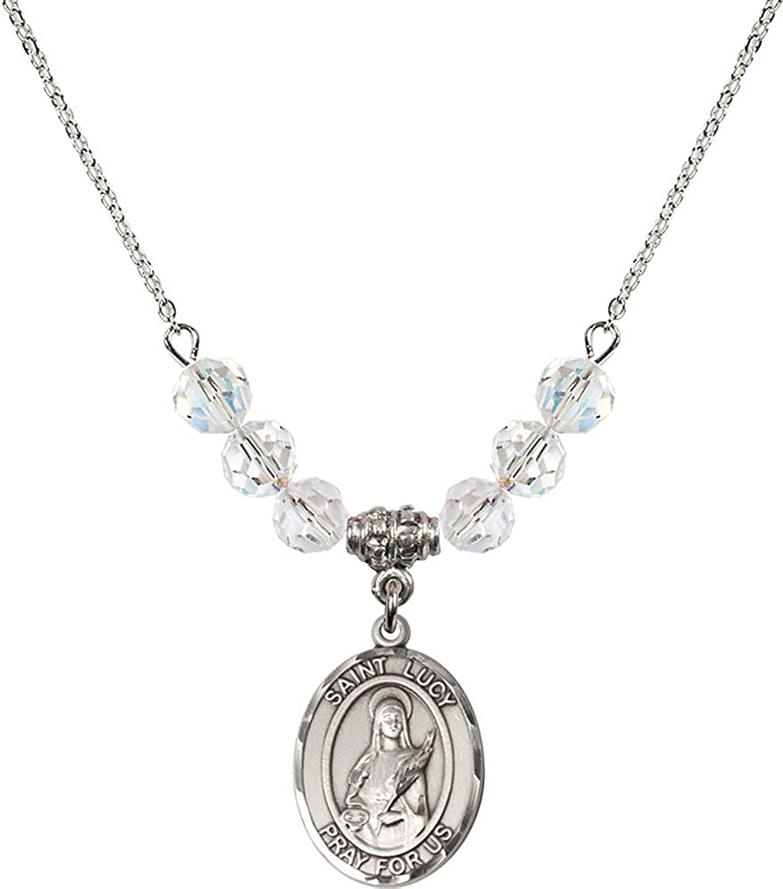 18-Inch Rhodium Plated Necklace with 6mm Crystal Birthstone Beads and Sterling Silver Saint Lucy Charm.
