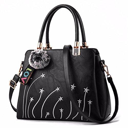 BMKWSG Womens Lady Soft Leather Handbags Large Capacity Retro Vintage Messenger Briefcase Casual Tote Shoulder Bags Tan Black