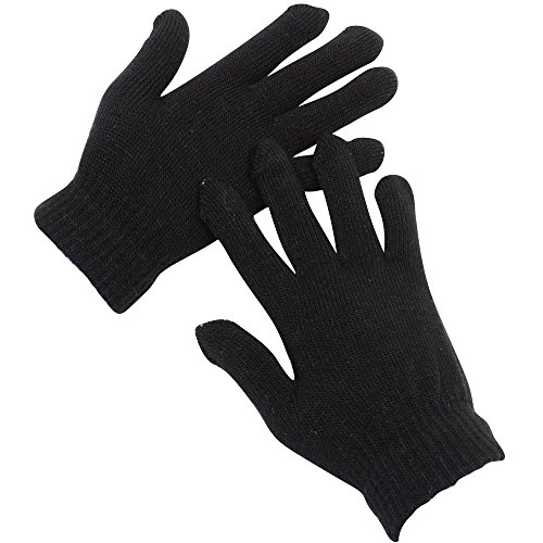 2ND DATE Men's Winter Magic Gloves - BLACK-Pack of 12 (Gloves Magic Winter)
