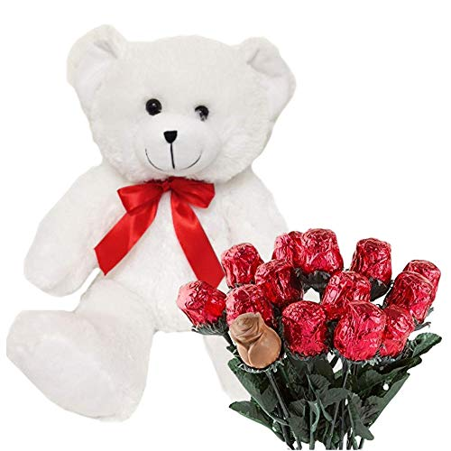 Valentines Day Gift Basket   Teddy Bear Plush 12 Inches & A dozen Belgian Milk Chocolate Roses   For Her Wife Girlfriend Mother Daughter -