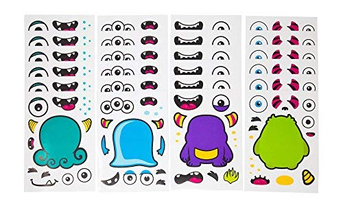 24 Make A Monster Stickers For Kids - Monster Themed Birthday Party Favors & Supplies - Fun Craft Project For Children 3+ - Let Your Kids Get Creative & Design Their Favorite Monster Stickers -