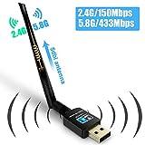 Fenvella Wireless USB Wifi Adapter-USB WiFi Network Dongle 5dbi WiFi Antenna Dual Band (2.4G/150Mbps+5.8G/433Mbps) for TV PC Desktop Laptop Support Windows XP/Vista/7/8/10 Mac OS