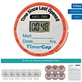 Pill Travel container with TimerCaps- LCD Stopwatch Timer Automatically Tracks Time Between Doses - Pill Reminder for Medications and Vitamins (6)
