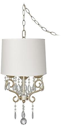 Conti 14 wide mini swag chandelier with white drum shade amazon conti 14quot wide mini swag chandelier with white drum shade aloadofball Images