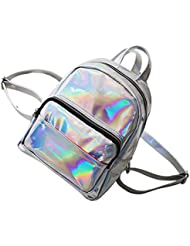 Tinksky Chic Holographic Backpack Cute Hologram School Shoulder Bag Satchel for Girls - gift for friends(Grey)