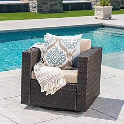 Venice Outdoor Dark Brown Wicker Swivel Club Chair with Beige Water Resistant Cushions (Single, Dark Brown/Beige) - This outdoor swivel club Chair will change everything you know about club chairs Not Only will you be able to turn to the tune of the conversation, but you can sit back comfortable knowing that no matter what direction the sun is shining Manufactured in China - patio-furniture, patio-chairs, patio - 51enp1lV%2BlL. SS400  -