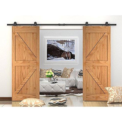 WINSOON 7.5FT WinSoon Antique Top Mount Double Sliding Barn Wood Door Hardware Cabinet Kit Black