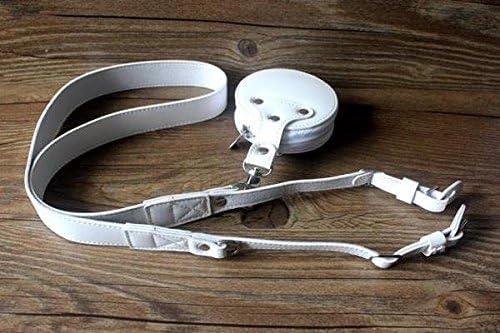 Adjustable Premium Design Universal PU Leather SLR//DSLR Camera Shoulder Neck Strap Belt with Storage Case Carrying Bag for Canon Nikon Pentax Sony Fujifilm Leica Casio Camera White