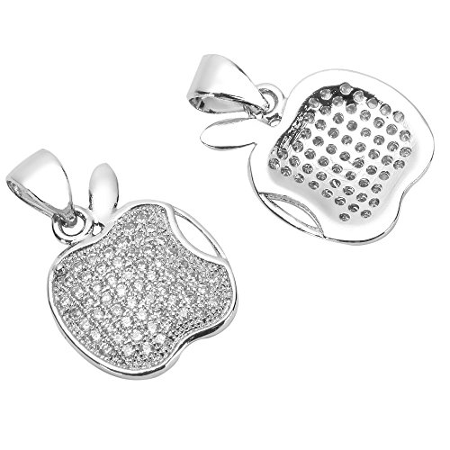 2pcs Top Quality Silver Apple of My Eye Charm Pendant with Man Made Diamond Simulants # MCAC28 by adabele charms