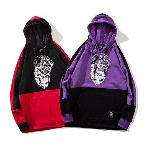 Con Pizoff E A Unisex Stampa Contrasto Al093 Cappuccio Felpa Streetwear purple Scirtta rpYwAp5q