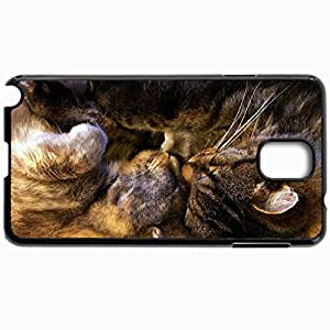 Personalized Protective Hardshell Back Hardcover For Samsung Note 3, Cats Sleeping Couple 29245 Design In Black Case Color